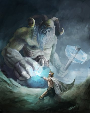 Thor fighting ice giant on edge of wold...