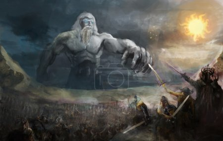 Titan on edge of world fighting army...