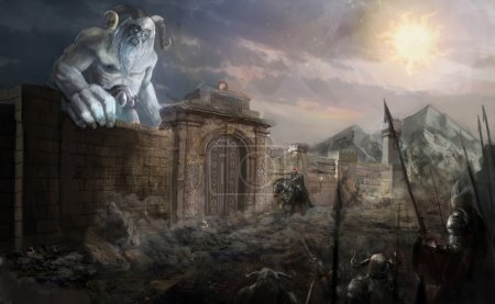 Ice giant attacking fortress on vikings...