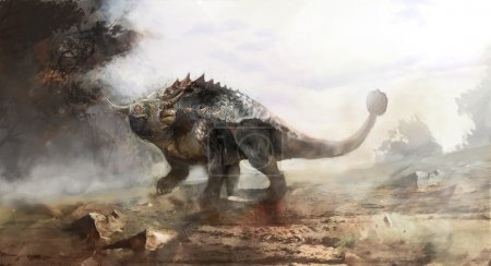 ankylosaurs swinging his tale on field
