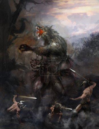 Werewolf fighting tree brave heroes...