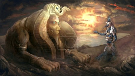 Egyptian sphinx and god Thoth...