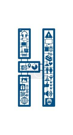 Icons kit letter H