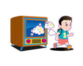 kid running out from TV