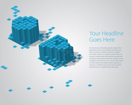 3D digital pixel font