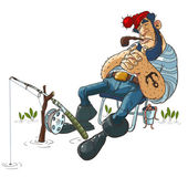 Cartoon slipping Fisherman