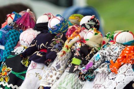 Ukrainian traditional dolls motanka on a fair