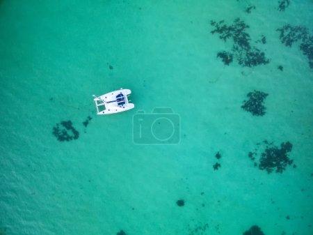 Mauritius beach aerial view of Bain Boeuf Beach in Grand Baie, Pereybere North