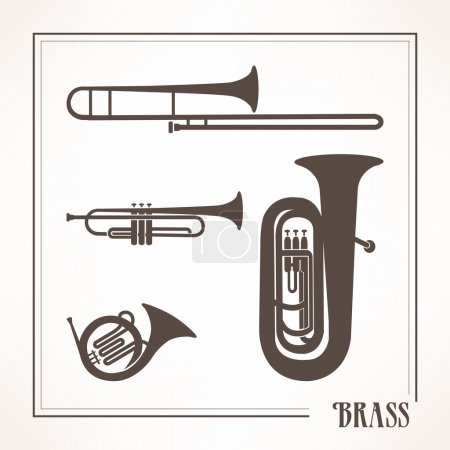 Illustration for Classical musical brass instruments: trumpets, horn and trombone - Royalty Free Image
