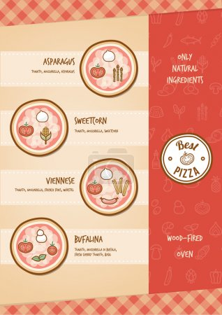 Illustration for Pizza menu with different toppings and tastes - Royalty Free Image