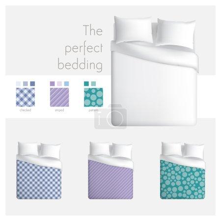 Illustration pour Linge de maison mock up avec top Découvre lit indiqué et échantillon embarque. - image libre de droit