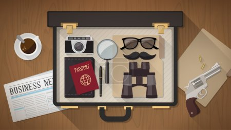 Illustration for Detective vintage briefcase with camera, magnifier, sunglasses, passport, mustaches, revolver and newspaper on a desktop, top view - Royalty Free Image