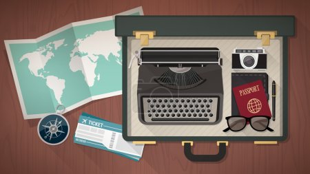 Illustration for Reporter and writer vintage open suitcase with a typewriter, camera, passport world map, plane tickets and compass, top view - Royalty Free Image