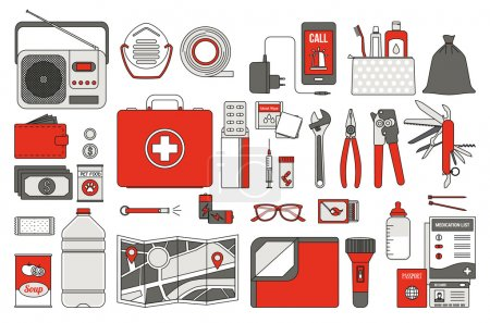 Illustration for Survival emergency kit for evacuation, vector objects set on white background - Royalty Free Image