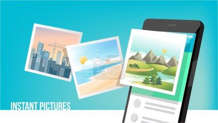 Ilustración de Concepto de fotos instantánea volando desde un teléfono móvil inteligente con cámara - Imagen libre de derechos