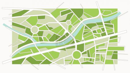 Illustration for Abstract green city map with river, streets and roundabouts - Royalty Free Image