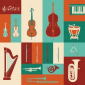 Classical music instruments colorful set entertainment concept