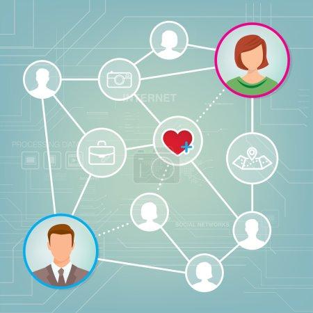 Illustration pour Réseau de médias sociaux avec avatars masculins et féminins et web icônes ensemble - image libre de droit