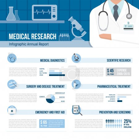 Illustration for Medicine and healthcare infographics with arms crossed doctor and laboratory - Royalty Free Image