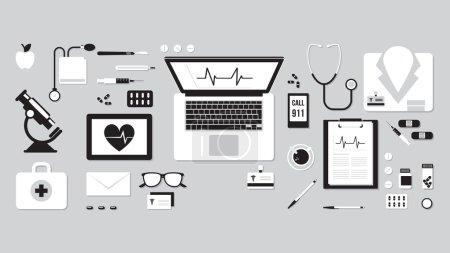Illustration pour Bannière de soins de santé et de recherche médicale, bureau médical avec stéthoscope, microscope, ordinateur portable, trousse de premiers soins et dossiers médicaux - image libre de droit