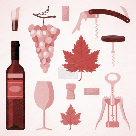 Red and rose wine vintage illustration