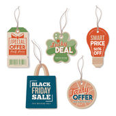 Vintage tags set textured realistic paper retail sale and discount concept