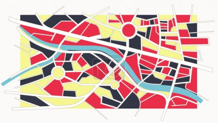 Abstract colorful city map