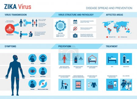 Illustration for Zika virus symptoms infographics with stick figures and text - Royalty Free Image
