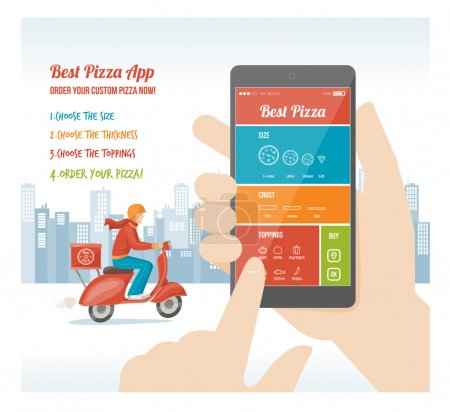 Illustration for Best pizza app interface design with ingredient and icons on mobile display - Royalty Free Image