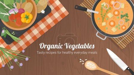 Illustration pour Végétarien recettes saines bannière avec des légumes sur un bol, une casserole avec de la soupe et des ustensiles de cuisine sur une surface en bois - image libre de droit
