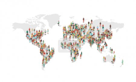 World population density map, with vector characte...