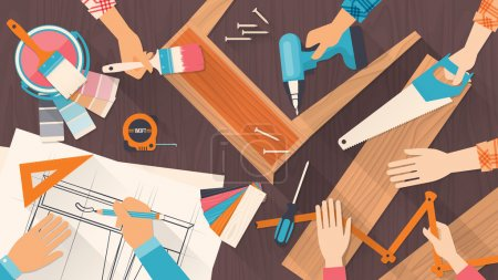 Illustration for Team of workers using DIY tools and working on a carpentry project - Royalty Free Image