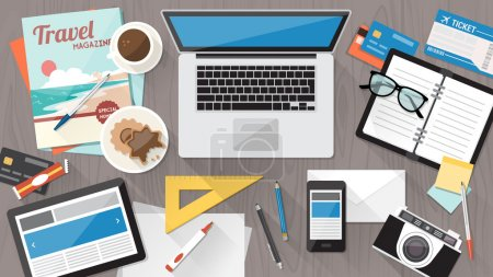 Illustration for Messy cluttered office desk, workspace organization and order concept - Royalty Free Image