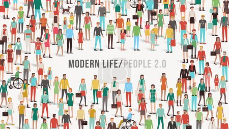 Illustration for Crowd of people banner with men, women, children, different ethnic groups and disabilities, copy space at center, diversity and communication concept - Royalty Free Image
