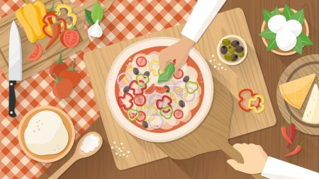 Illustration for Chefs cooking a tasty traditional vegetables pizza, hands owrking top view with kitchen utensils, ingredients and wooken worktop - Royalty Free Image