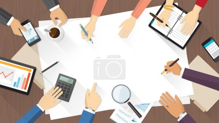 Illustration for Business team working together on a new idea, desktop top view with hands of men and women working - Royalty Free Image