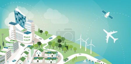 Illustration for Green sustainable city banner with planet earth and sky, environmental care and ecology concept - Royalty Free Image