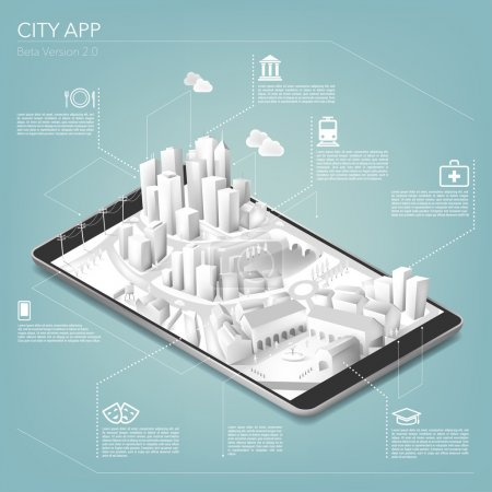 Illustration for City app for mobile telephone. vector illustration - Royalty Free Image
