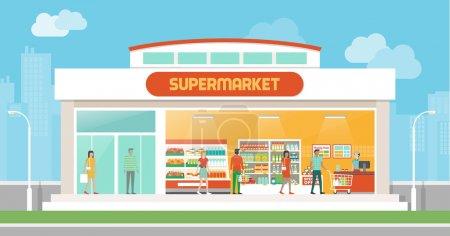 Illustration pour Supermarché bâtiment et intérieur avec les gens qui achètent des produits sur les étagères et panier de caisse - image libre de droit