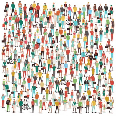 Illustration for Crowd of people, men, women, children, different ethnic groups and clothing, consumers and large groups concept - Royalty Free Image