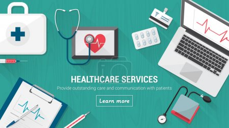 Illustration for Doctor's destop with medical and healthcare tools, computer and tablets - Royalty Free Image