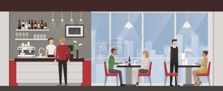 Illustration pour Les gens déjeunent dans un restaurant exclusif de luxe sur le toit, horizon de la ville en arrière-plan - image libre de droit
