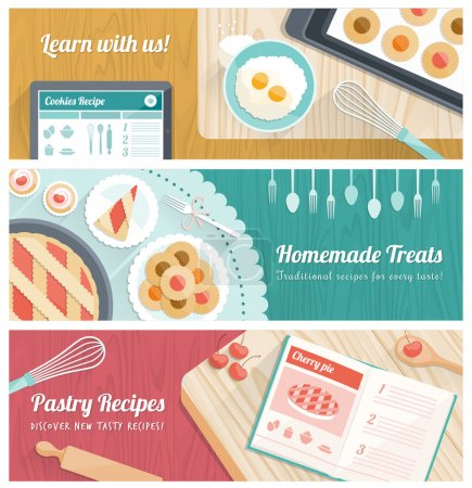 Illustration for Pastry and cooking banners set with kitchen tools and sweets - Royalty Free Image