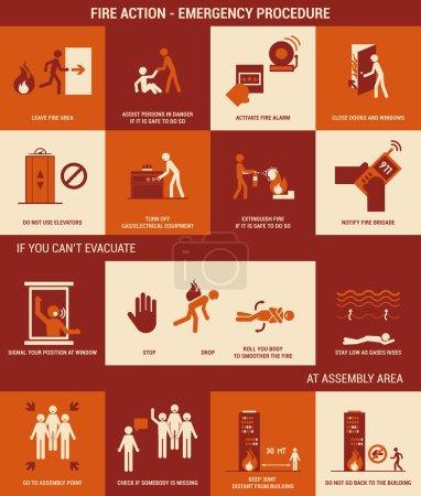 Illustration pour Action incendie et procédure d'urgence avec chiffres bâton - image libre de droit