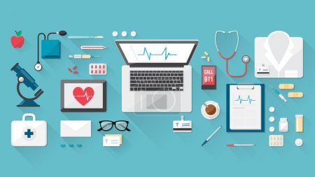 Doctor's desktop with medical healthcare tools