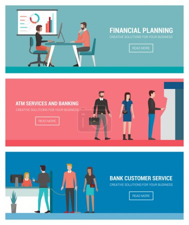 Illustration for Banking and finance banners set: financial planning, consulting, atm self service and bank cash desk - Royalty Free Image
