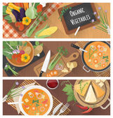 Cooking and healthy eating banner set