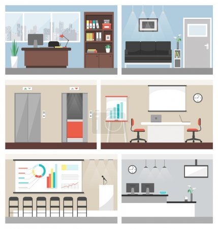 Illustration for Business office building banner set, with conference room, reception and elevators - Royalty Free Image