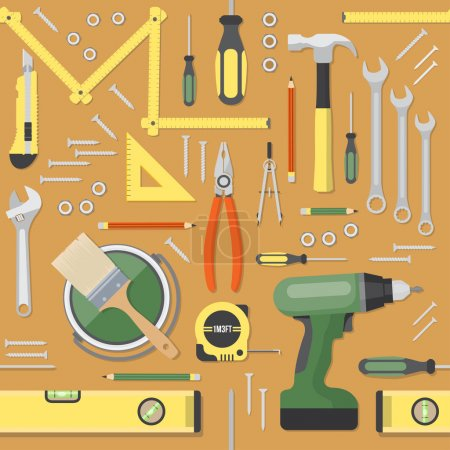 Illustration for DIY and home renovation tools seamless pattern background - Royalty Free Image