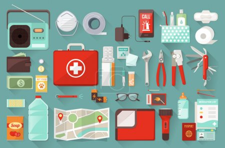 Illustration for Survival emergency kit for evacuation, vector objects set - Royalty Free Image